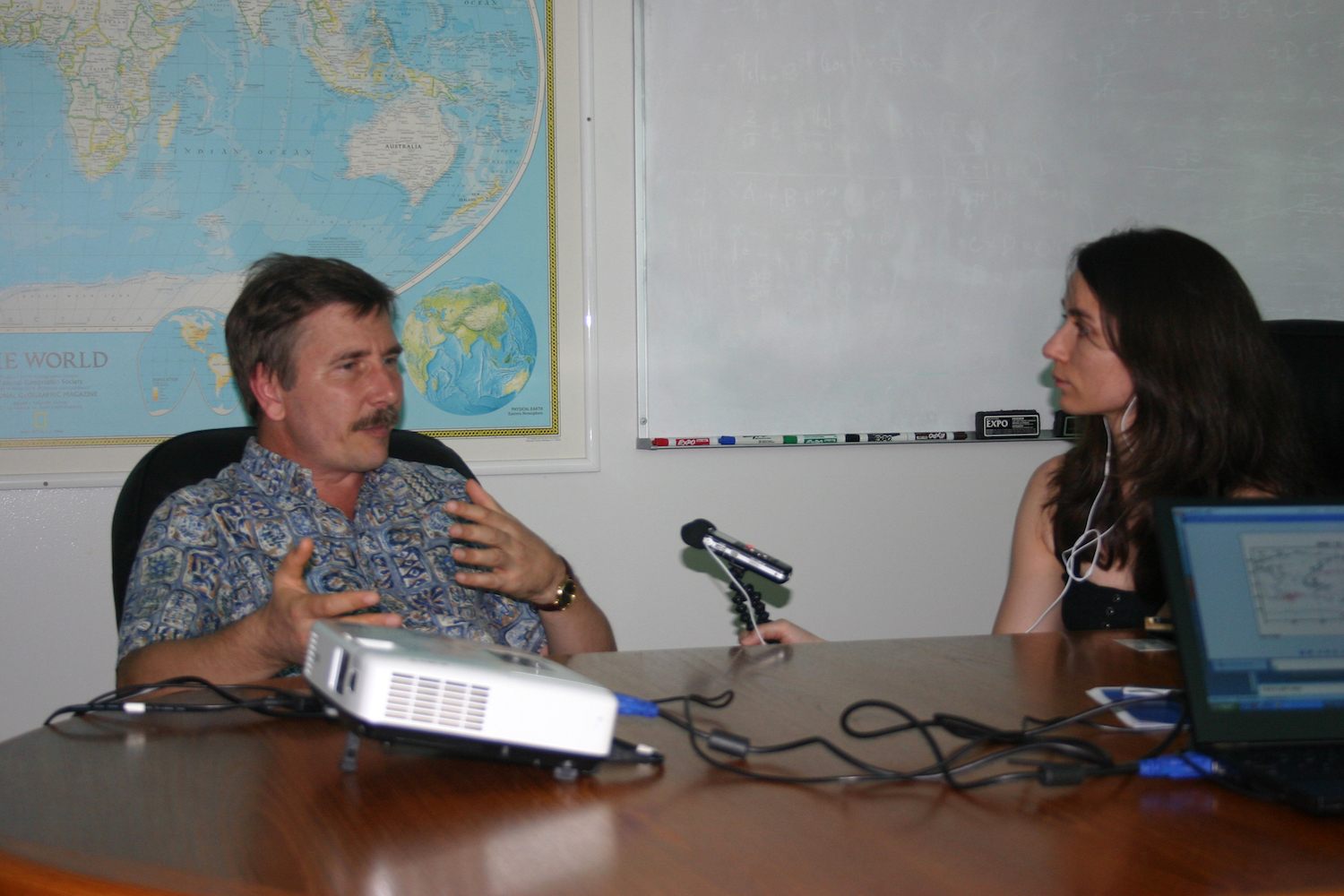 Interviewing Nikolai Maximenko at the International Pacific Research Center on Oahu in 2011. Picture: Gisela Speidel (IPRC)
