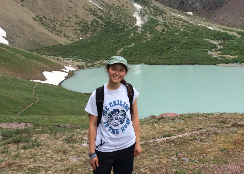 Environmental Science student and podcast producer Brooke Bauman at Cracker Lake in Montana. Picture: Jayla Blanke
