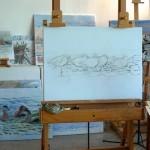 Staffeleien und Bilder des Vogelmalers Lars Jonsson in seinem Studio auf Gotland.